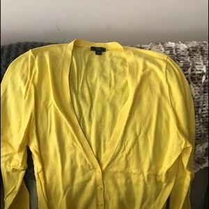 Yellow cardigan with yellow/white sleeveless